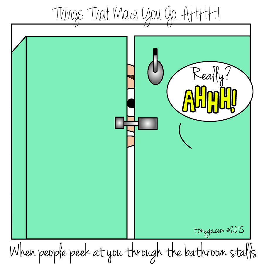 peeking between bathroom stalls TTMYGA comics 2015